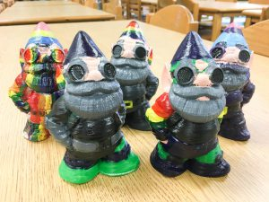 Makerbot gnomes: JellyBOX-printed, student-painted for a video project